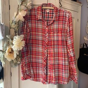 Reversible red navy plaid bottom down shirt
